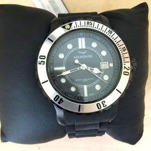 Men's Aquaswiss diver's 100m black rubber watch